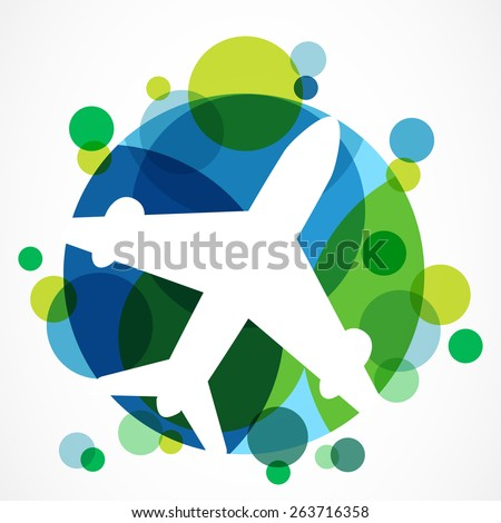 Flight airplane silhouette and colorful circle planet background with place for text. Travel around the world concept. Abstract vector logo design template. - stock vector