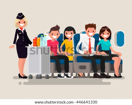 Flight attendant serving drinks to passengers on board of the aircraft. Vector illustration of a flat design - stock vector