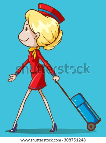 Flight attendant with luggage illustration