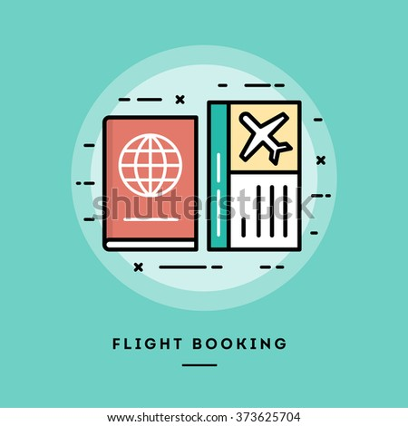 Flight booking, flat design thin line banner, usage for e-mail newsletters, web banners, headers, blog posts, print and more - stock vector
