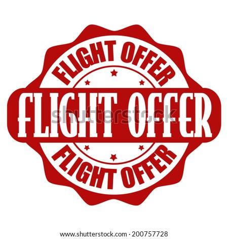 Flight deals stamp or label on white, vector illustration - stock vector