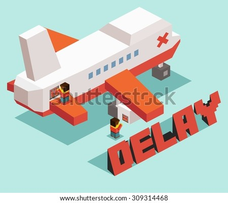Flight Delay problem. isometric art - stock vector