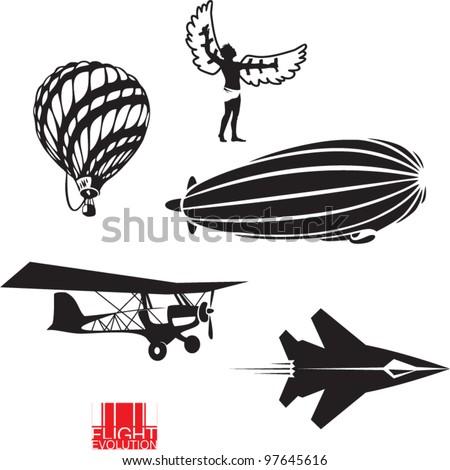 Flight evolution. Vector icons set - stock vector