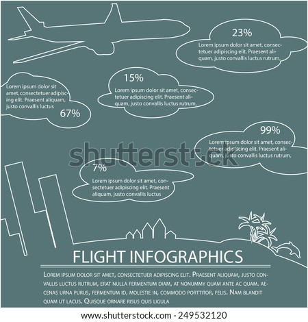 flight infographics vector, traveling infographics vector - stock vector