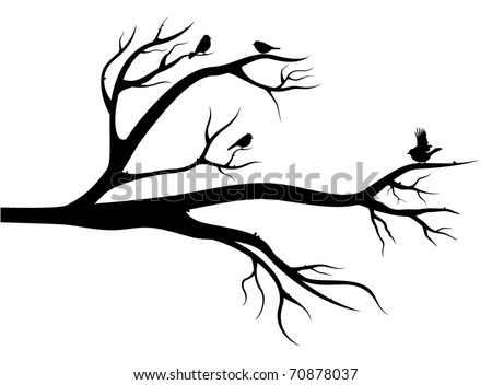 Flight of little birds on the tree. Black silhouette image on white background - stock vector