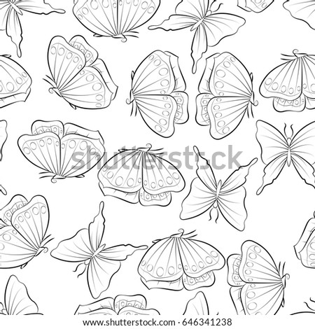 Flight Of The Butterfly Coloring Book Seamless Pattern Background With Insect Vector Illustration Fabric