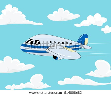 Flight Of The Plane In Cloudy Sky Cartoon Passenger Airplane Travel Color Flat