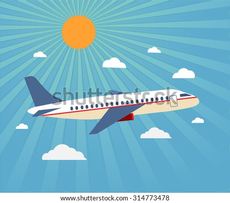 Flight of the plane in the sky. Passenger planes, airplane, aircraft, flight, clouds, sky, sunny weather. Color flat icons. Vector illustration - stock vector