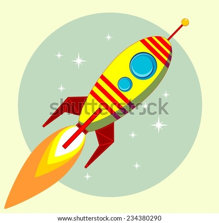 Flight of the Space Rocket, Vector illustration - stock vector