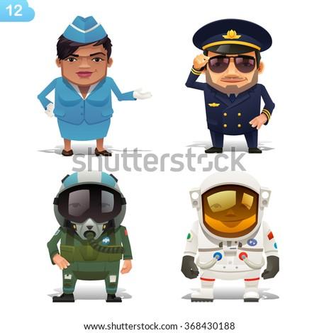 Flight professions - stock vector