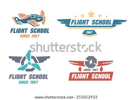 Flight school emblems. Vector illustration.