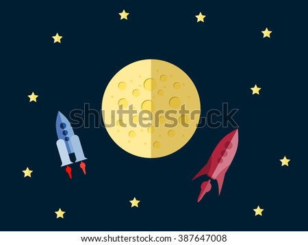 Flight to Mars. Spacecraft in space in a flat style. Outdoor space. Vector illustration. - stock vector