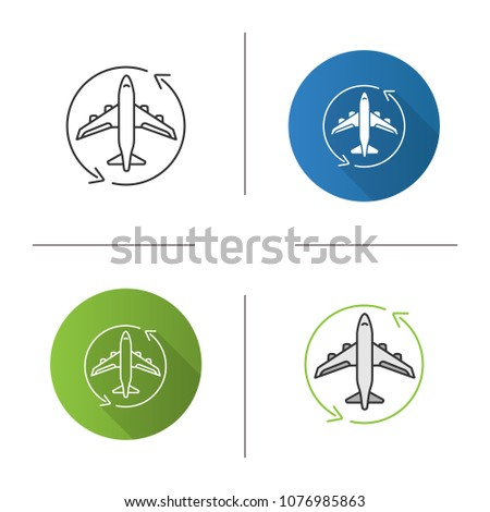 Flight Transit Icon Circle Arrow With Airplane Inside Plane Transfer Flights Management