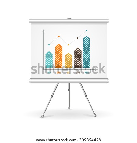 Flip chart business concept. Demonstration of the results. Vector illustration - stock vector
