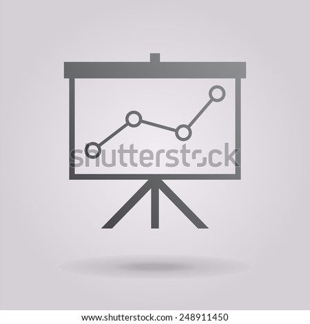 Flip-chart, projection screen with a graph. Vector icon. The illustration on gray background. - stock vector
