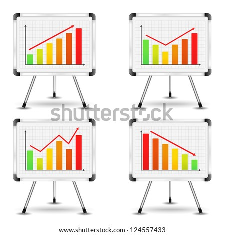 Flip charts with different bar graphs, vector eps10 illustration