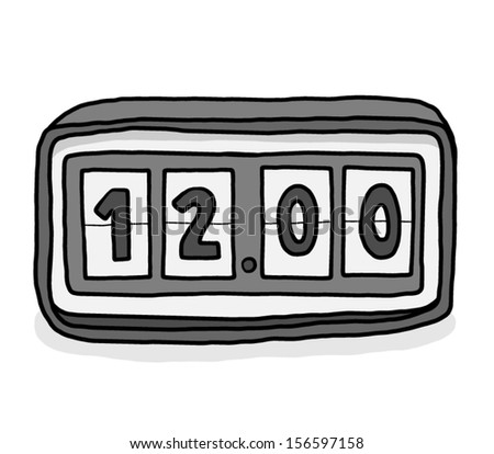flip clock at twelve o' clock / cartoon vector and illustration, isolated on white background. - stock vector