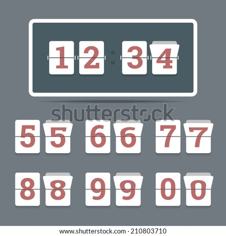 Flip clock in flat style with all flipping numbers. Vector illustration.