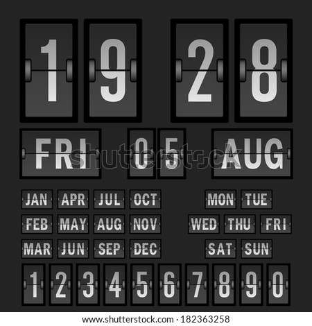 Flip clock template with Countdown Timer and Scoreboard Numbers, date and day. Vector. - stock vector