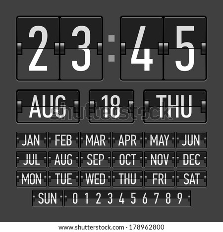 Flip clock template with time, date and day. Vector. - stock vector