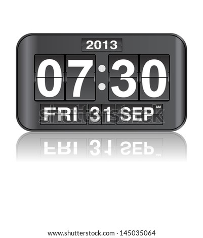 flip clock with date and  timer vector illustration - stock vector
