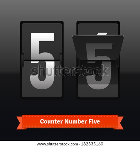 Flip counter template for number five. Highly editable EPS10 interface elements. - stock vector