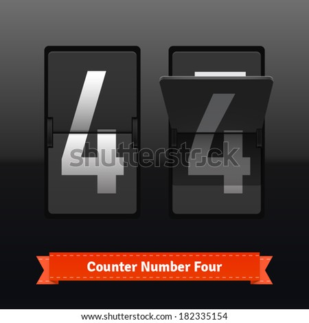 Flip counter template for number four. Highly editable EPS10 interface elements. - stock vector