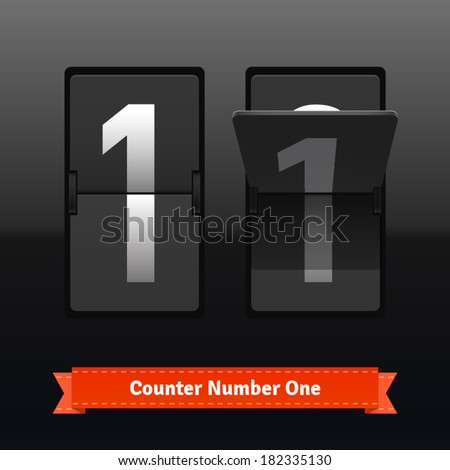 Flip counter template for number one. Highly editable EPS10 interface elements. - stock vector