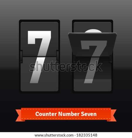 Flip counter template for number seven. Highly editable EPS10 interface elements. - stock vector