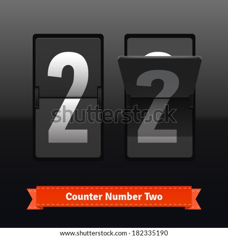 Flip counter template for number two. Highly editable EPS10 interface elements. - stock vector