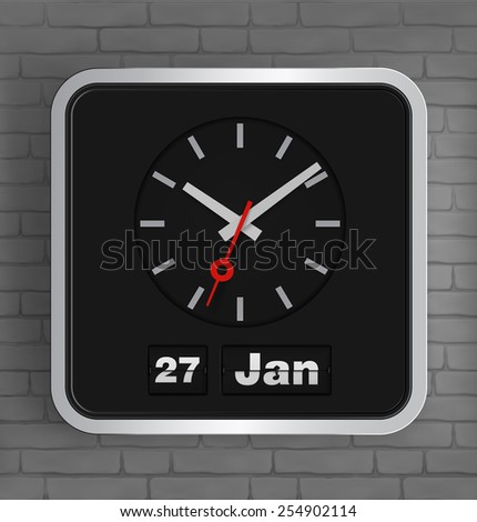 Flip date and analog clock on brick wall. Vector illustration. - stock vector