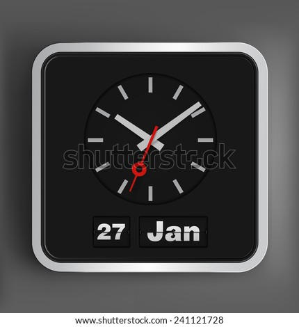 Flip date and analog clock. Vector illustration. - stock vector