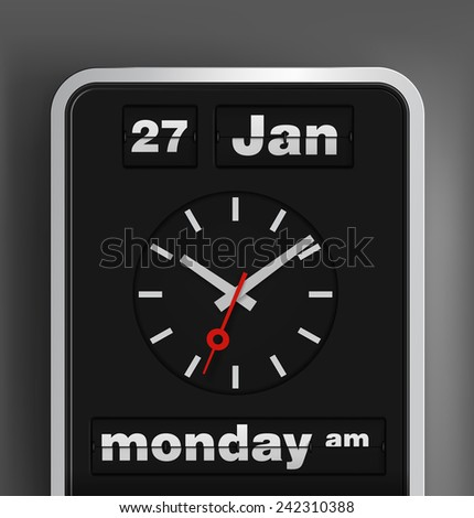 Flip date, timer and analog clock. Vector illustration. - stock vector