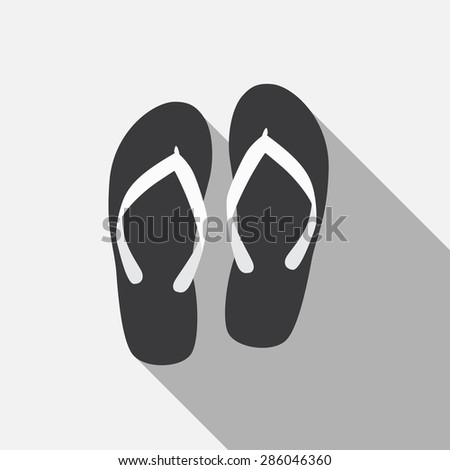 Flip Flop Flat Icon with Long Shadow, Vector Illustration Eps10 - stock vector