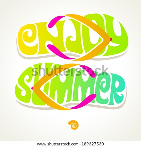 Flip-flop with summer greeting - vector illustration - stock vector