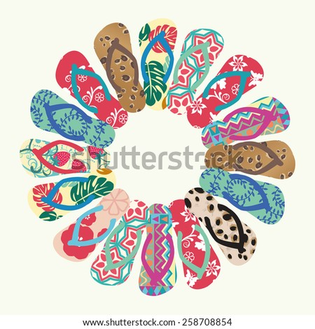 Flip Flops and Slippers  Vector round pattern- Illustration - stock vector