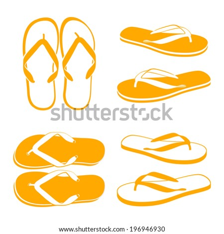 Flip flops isolated on a white background - stock vector