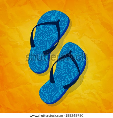Flip flops on sunny vector background. Greeting card. Summer holidays concept - stock vector