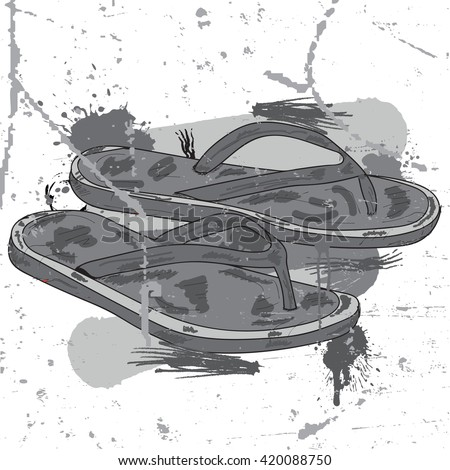 Flip flops over paint color splash isolated over white. Vector file layered for easy manipulation and custom coloring