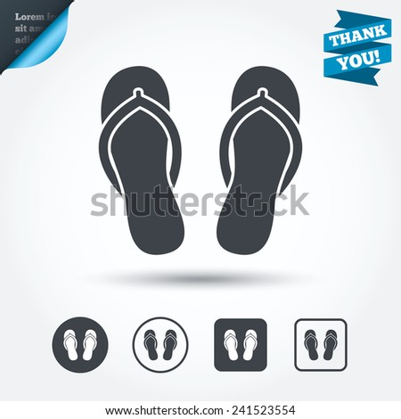 Flip-flops sign icon. Beach shoes. Sand sandals. Circle and square buttons. Flat design set. Thank you ribbon. Vector - stock vector
