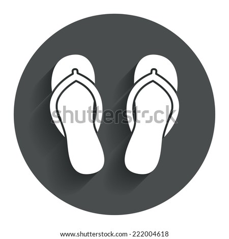Flip-flops sign icon. Beach shoes. Sand sandals. Circle flat button with shadow. Modern UI website navigation. Vector - stock vector