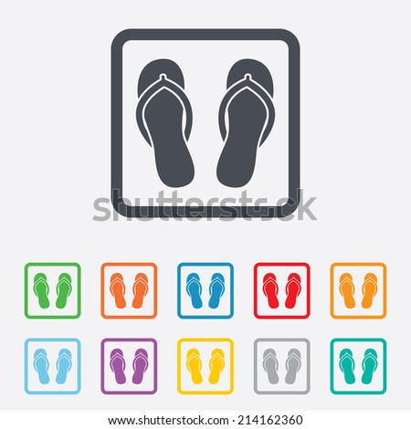 Flip-flops sign icon. Beach shoes. Sand sandals. Round squares buttons with frame. Vector - stock vector
