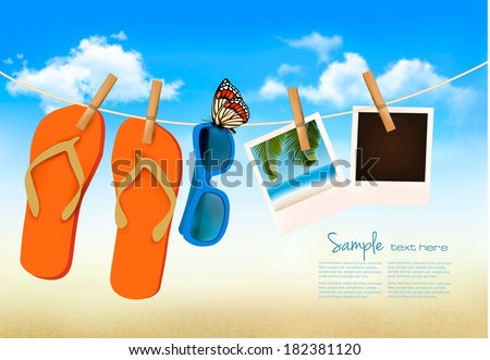 Flip flops, sunglasses and photo cards hanging on a rope. Summer memories background. Vector.  - stock vector