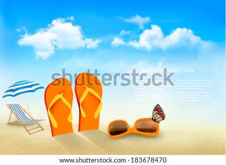Flip flops, sunglasses, beach chair and a butterfly on a beach. Summer vacation background. Vector.  - stock vector