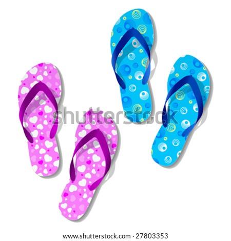 Flip flops. Vector. - stock vector