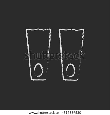 Flippers hand drawn in chalk on a blackboard vector white icon isolated on a black background. - stock vector