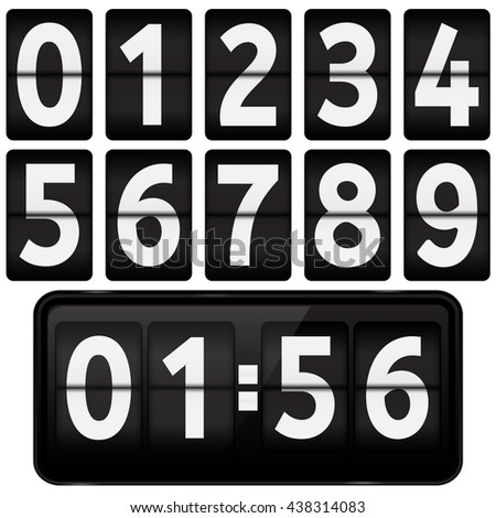 Flipping numbers. Vector illustration isolated on white background