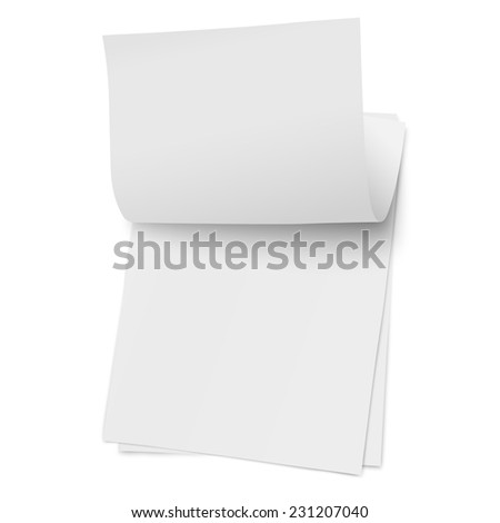 Flipping page on a stack of note papers isolated on white background - stock vector