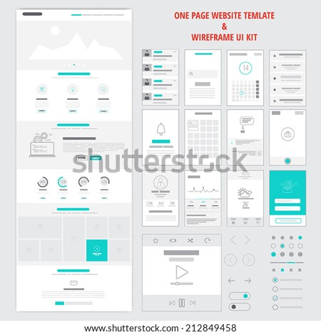 Fllat responsive one page website template and mobile app wireframe kit. Vector - stock vector