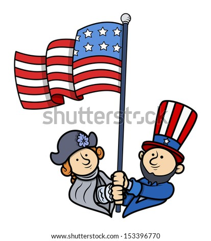 Floating American Flag - Presidents Day Vector - stock vector